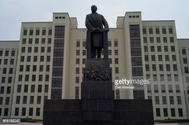A statue of Vladimir Lenin in front of Government House in Independence Square on July 01 2017 in Minsk Belarus Independence Day also known as the...