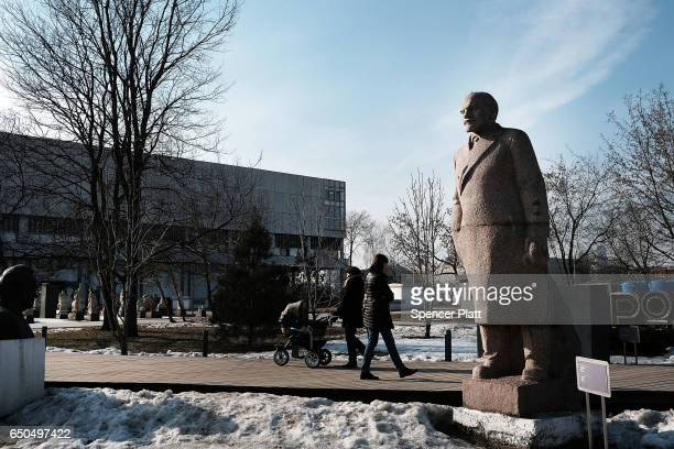 A statue of Vladimir Lenin is displayed in a Moscow park filled with old monuments and historical statues on March 9 2017 in Moscow Russia Relations...