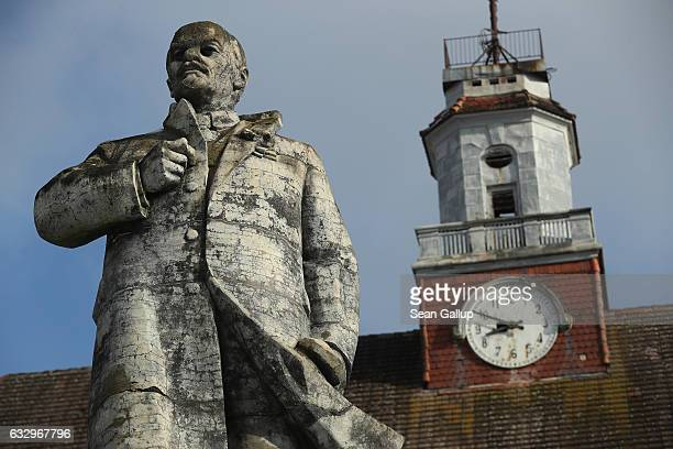 A statue of Vladimir Lenin stands overlooking a vista in front of the officers' building at the former Soviet military base on January 26 2017 in...