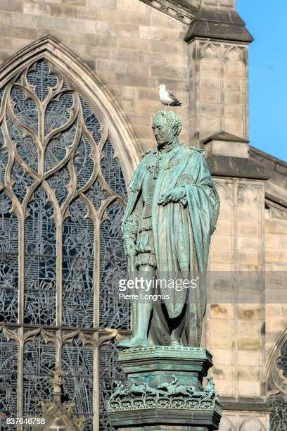 statue of walter francis montagu douglas scott, 5th duke of buccleuch, 7th duke of queensberry on the parliament square in edinburgh (with seagull on the head) outside saint giles cathedral, edinburgh, scotland - st. giles cathedral stock pictures, royalty-free photos & images
