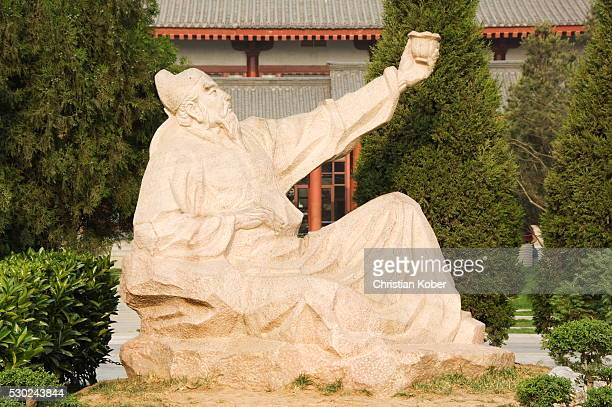 statue of wang wei who lived between 701and 761, the poetic buddha of great tang, big goose pagoda park, xian city, shaanxi province, china, asia - who stock pictures, royalty-free photos & images