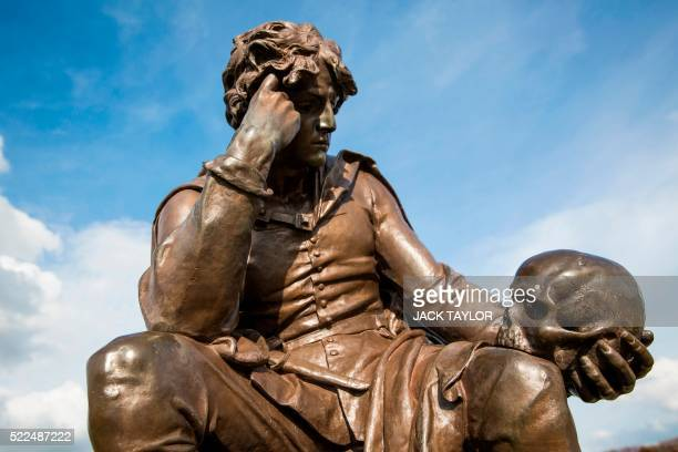 A statue of William Shakespeare's Hamlet character at the Gower Memorial is pictured in StratforduponAvon central England on April 12 2016 William...