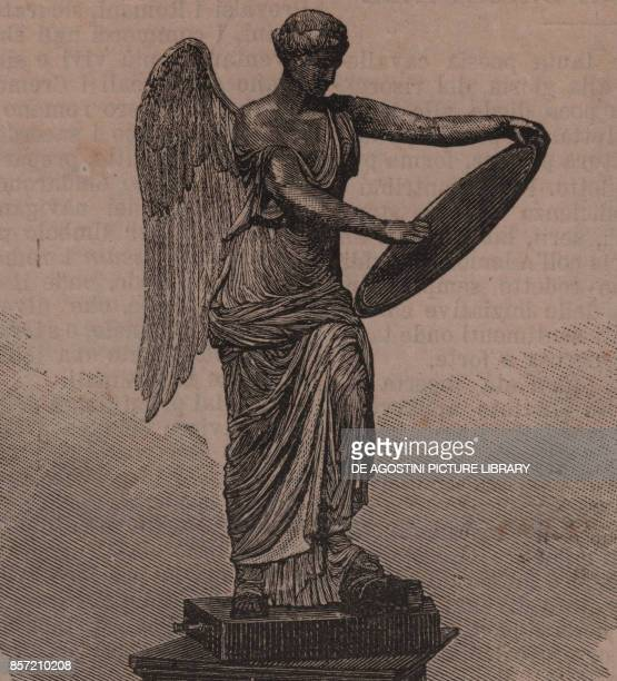 Statue of Winged Victory Brescia Lombardia Italy woodcut from Le cento citta d'Italia illustrated monthly supplement of Il Secolo Milan 1889