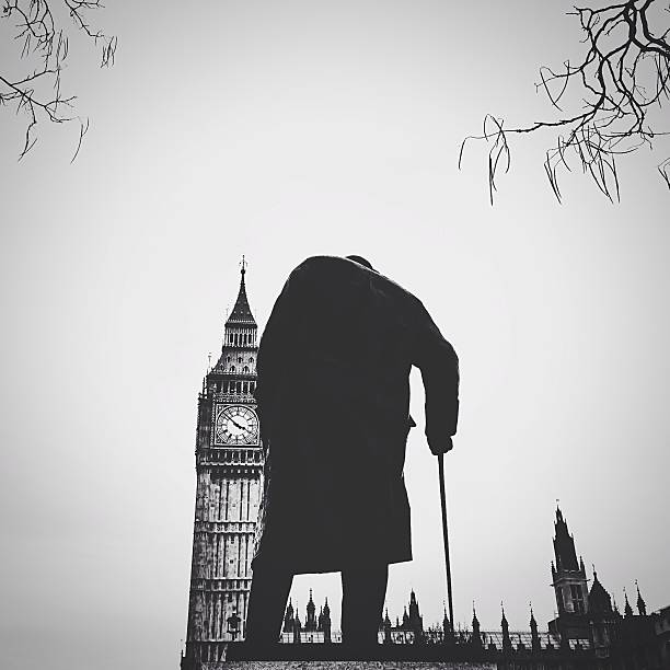 Statue Of Winston Churchill With Big Ben Wall Art