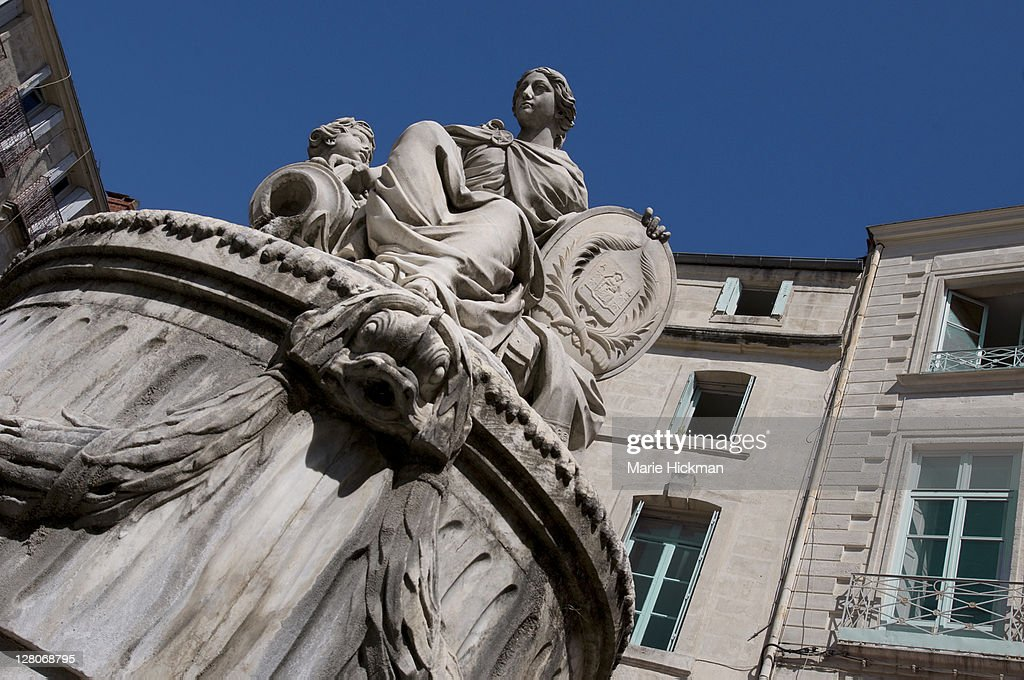 Statue of Woman and Child in Montpellier, France : Stock Photo