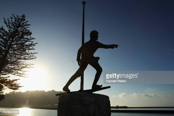 A statue of Young Nick who spotted New Zealand for Captain Cook who discovered New Zealand stands as the sun rises over Watson Park on January 01...