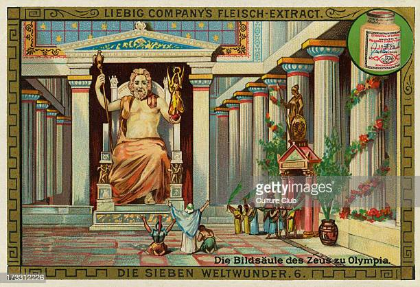 Die Bildsaule des Zeus zu Olympia A giant seated figure made by the Greek sculptor Phidias in circa 430422 BC at the sanctuary of Olympia Greece One...