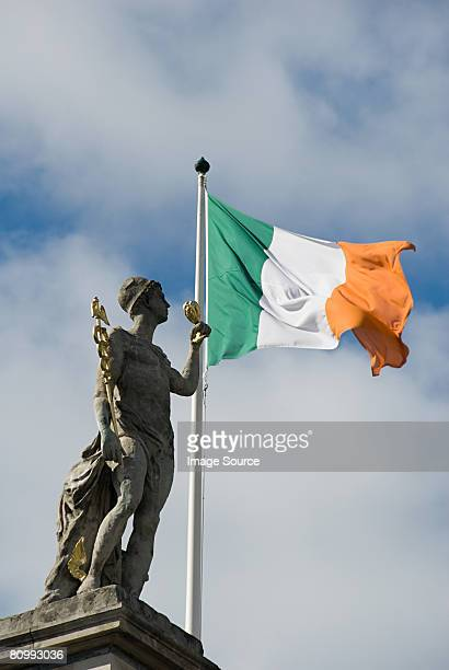 statue on general post office building - irish flag stock pictures, royalty-free photos & images