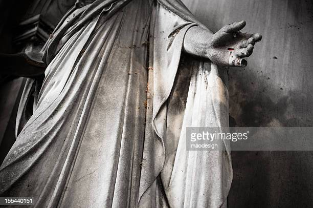statue on the old cemetery. - jesus blood stock pictures, royalty-free photos & images