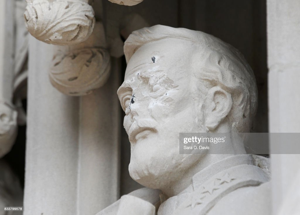 A statue on the portal of Duke University Chapel bearing the likeness of Confederate General Robert E. Lee was vandalizedon early August 17, 2017 in Durham, North Carolina. The statue is one of 10 historical figures adorning the exterior of the chapel; the group includes significant figures from the American South and the Protestant and Methodist traditions.
