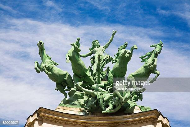 Statue on top of Grand Palais, Paris, France