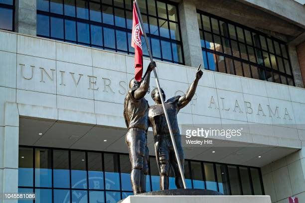 Statue outside of Bryant-Denny Stadium on the campus of the University of Alabama before a game between the Alabama Crimson Tide and the Texas A&M...