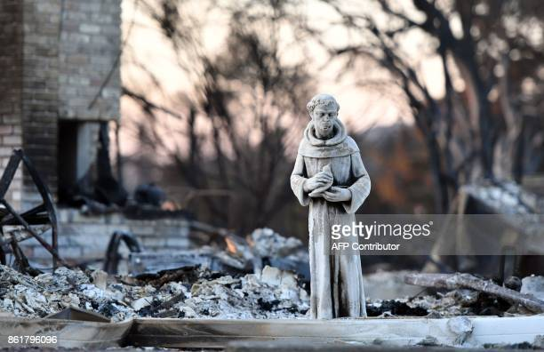 A statue remains at a burned out property in Santa Rosa California on October 15 2017 The death toll from California's wildfires rose to 40 October...