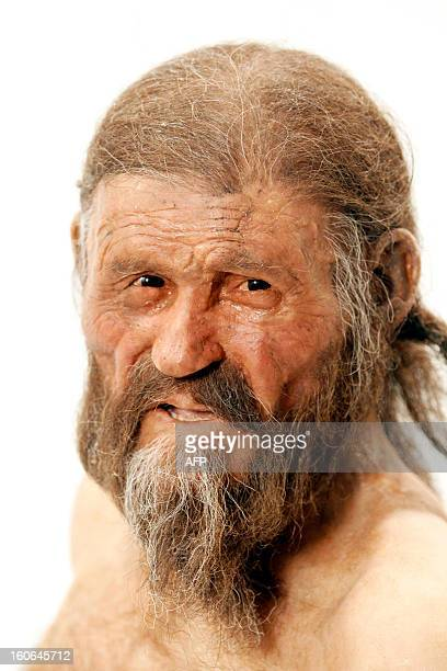 Statue representing an iceman named Oetzi, discovered on 1991 in the Italian Schnal Valley glacier, is displayed at the Archaeological Museu of...