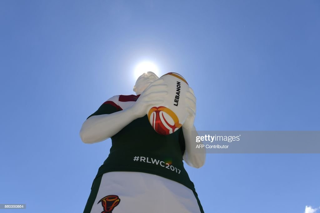 A statue representing Lebanon as part of the League of Giants installation is seen in Sydney on October 12, 2017. The installation of 14 giant rugby league players represents the 2017 Rugby League World Cup participating nations and will be exhibited in four host cities from October 16 to December 2. / AFP PHOTO / Saeed KHAN