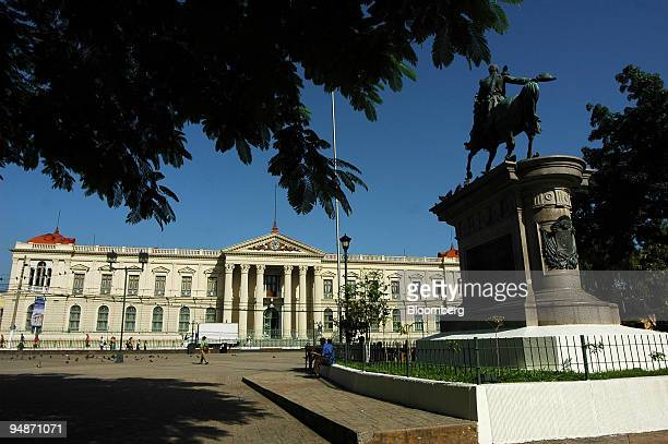 A statue sits outside of the Presidential Palace in San Salvador El Salvador on July 27 2008 The palace is the official residence and offices of El...