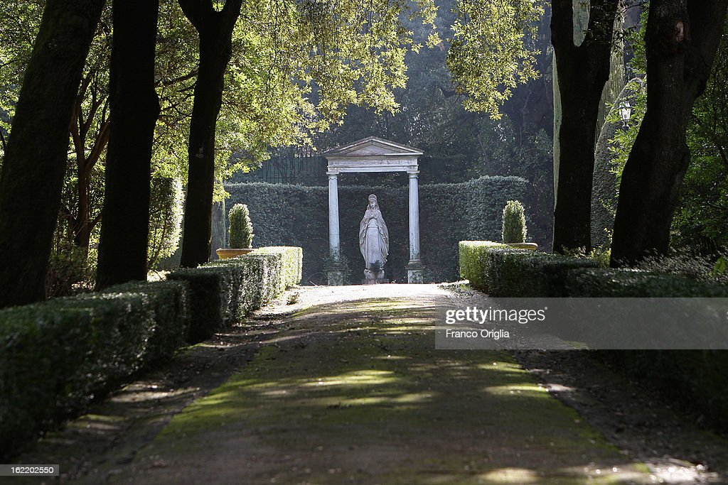 A statue stands in the gardens of the Pontifical residence of Castelgandolfo on February 20, 2013 in Rome, Italy. The Apostolic Palace and The Ponifical Villas of Castelgandolfo, 10 miles south Rome, are the summer residence of Popes and will host Pope Benedict XVI during the next conclave.