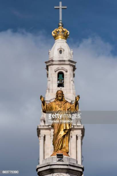 Statue to the Sacred Heart of Jesus in the Sanctuary of Fatima on April 1 2017 in Fatima Portugal Thousands of pilgrims and worshippers visit daily...