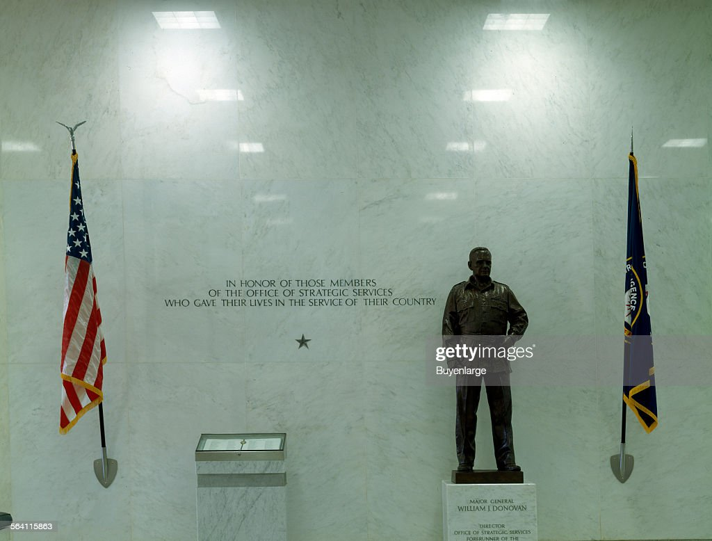 Statue to William Donovan, director of the C.I.A predecessor agency, and a marker to the C.I.A falle : News Photo