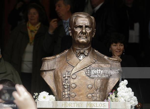 A statuebust of Hungary's wartime leader Miklos Horthy is seen after it was unveiled in Budapest on November 3 2013 The unveiling provoked protests...