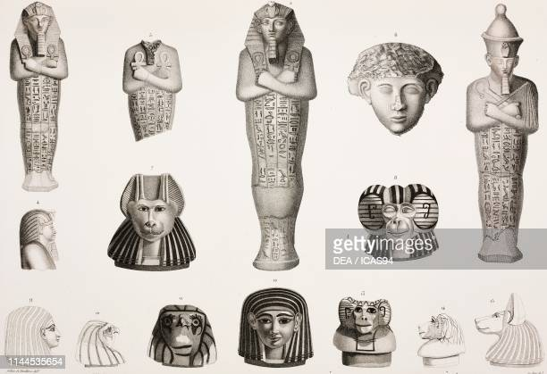 Statues and fragments in black and red granite; 7-15) Lids of canopic jars, from the Valley of the Kings , Theban Necropolis, Luxor, Egypt, engraving...