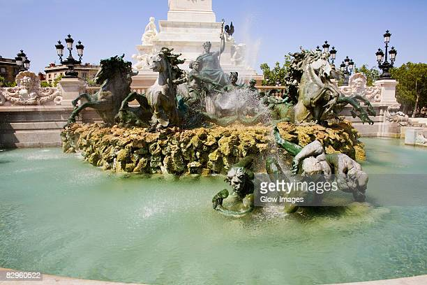 Statues at a fountain, Fontaine Des Quinconces, Monument Aux Girondins, Bordeaux, Aquitaine, France