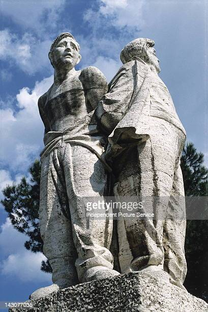 Statues at Fosse Ardeatine commemorating Jewish hostages during a Nazi massacre of 1944 Rome Italy