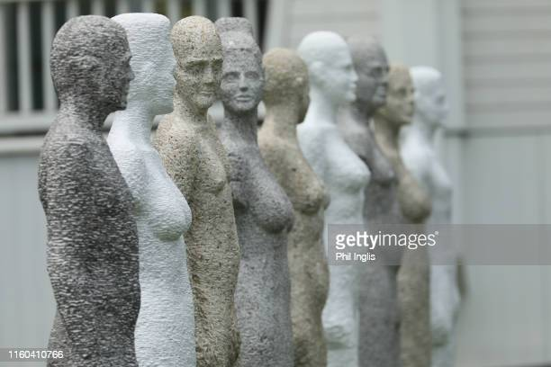 Statues besides the 1st tee during the second round of the Swiss Seniors Open played at Golf Club Bad Ragaz on July 06, 2019 in Bad Ragaz,...