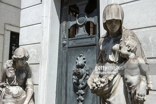 Statues decorating graves on La Recoleta Cemetery a cemetery located in the Recoleta neighbourhood of Buenos Aires in Argentina It contains the...
