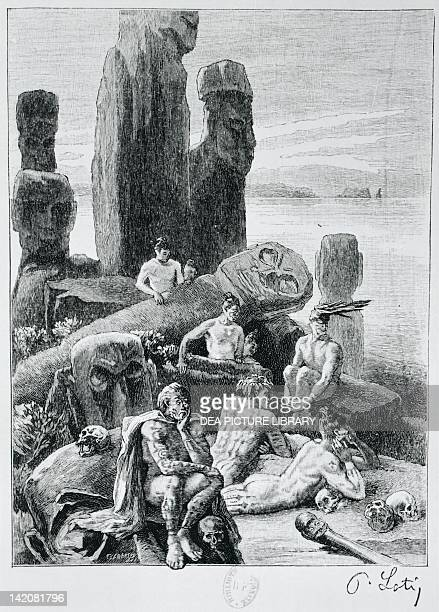 Statues, Easter Island, Chile 19th century.
