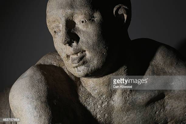 Statues entitled 'Raving and Melancholy Madness' by Caius Gabriel Cibber form part of a new exhibition at the Bethlem Gallery on February 18 2015 in...