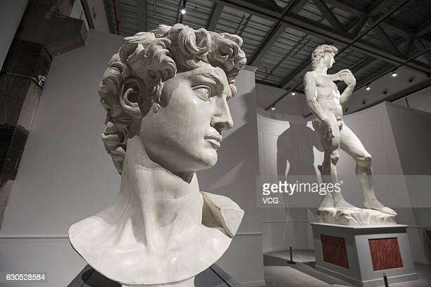 Statues for the exhibition The Divine Michelangelo seen at Shanghai Modern Art Museum on December 25 2016 in Shanghai China Shanghai Modern Art...