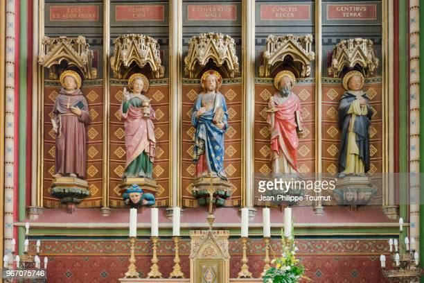 statues in the chapel of the sacré coeur, saint etienne cathedral of limoges, france - religious saint stock pictures, royalty-free photos & images