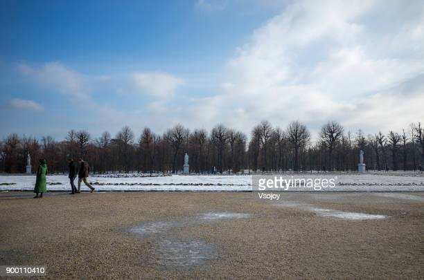 statues in the great parterre, schönbrunn palace, vienna, austria - vsojoy stock pictures, royalty-free photos & images