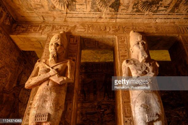 statues inside abu simbel temple - hieroglyphics stock pictures, royalty-free photos & images