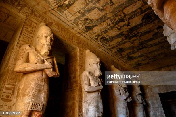 statues inside abu simbel temple - egyptian god stock pictures, royalty-free photos & images