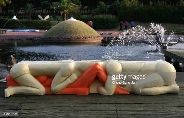 Statues is seen at the theme park 'Love Land' on October 24 2009 in Jeju South Korea Love Land is an outdoor sexthemed sculpture park which opened in...