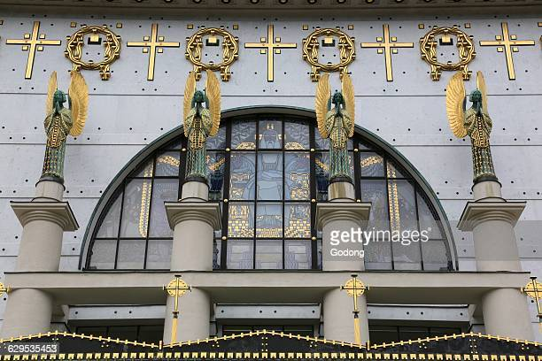 Statues of angels designed by Othmar Schimkowitz In the window a work of Kolo Moser called 'the Fall' Steinhof Church built by Otto Wagner between...