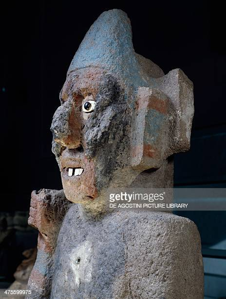Statues of anthropomorphic standardbearers stone with traces of colour Mexico Aztec civilisation 14th16th century Mexico City Museo Del Templo Mayor