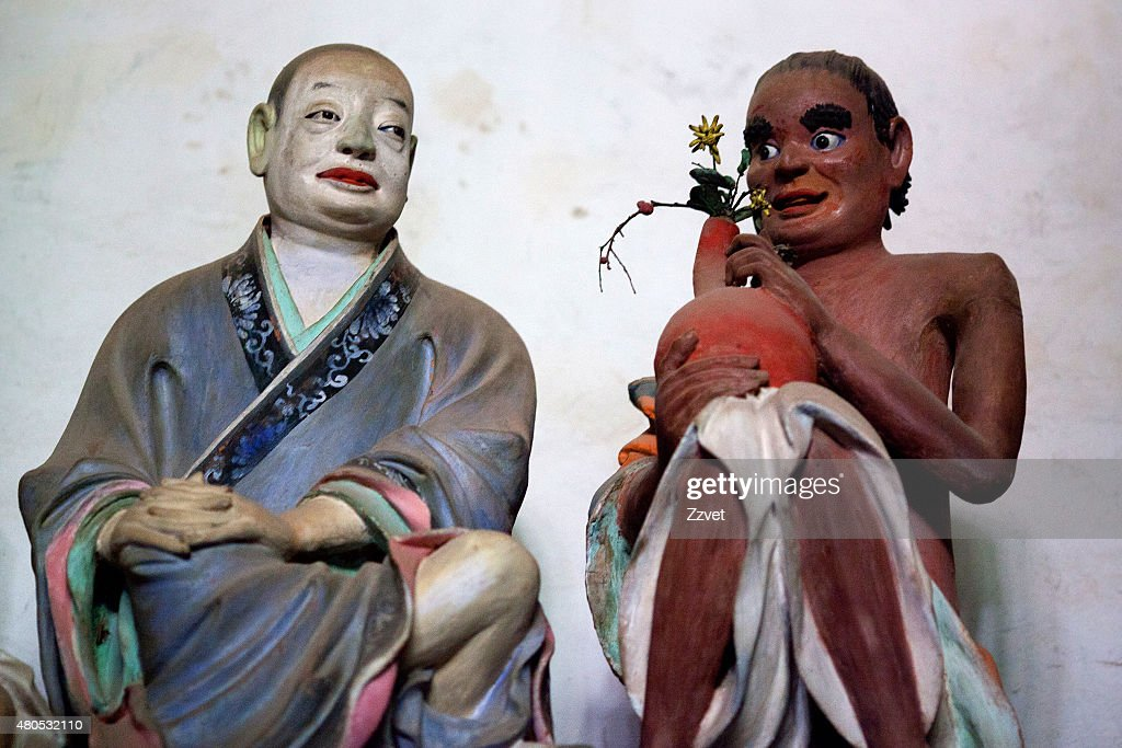 Statues of Buddhist Arhats by Li Guangxiu, China : Stockfoto