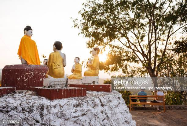 Statues of buddhist monks, Hsipaw, Shan State, Myanmar