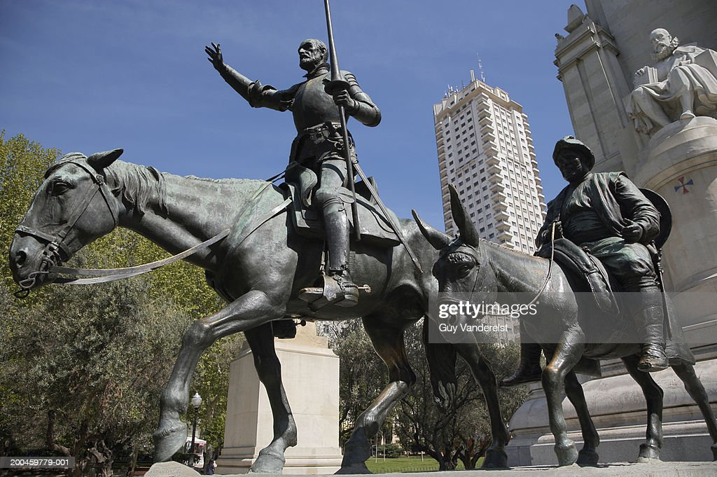 Statues Of Cervantes Don Quijote And Sancho Panza Low Angle View