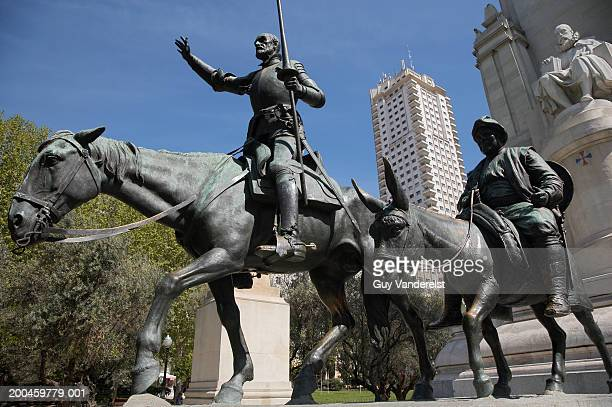 Statues of Cervantes, Don Quijote and Sancho Panza, low angle view