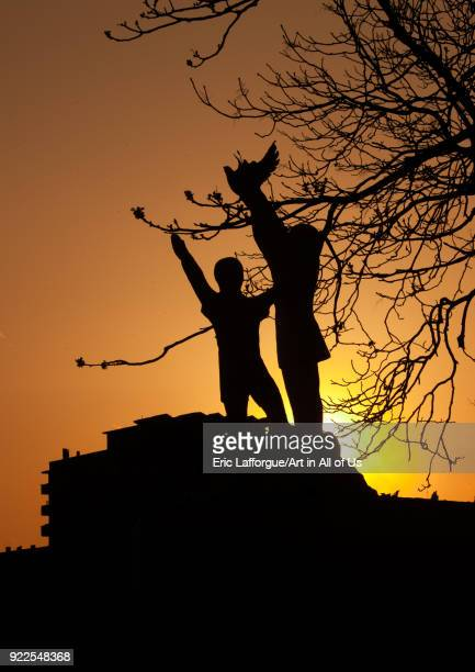 Statues of children and dove in the sunset in Tchang Gwang school kindergarden North Hamgyong Province Chongjin North Korea on May 8 2010 in Chongjin...