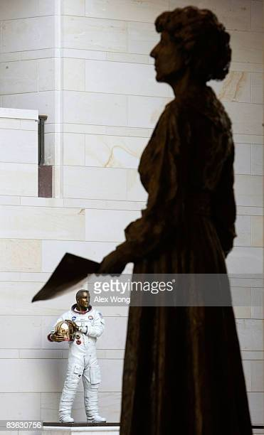 "Statues of former Rep. Jeannette Rankin of Montana, and former astronaut John L. ""Jack"" Swigert, Jr. Are seen on display in the Emancipation Hall..."