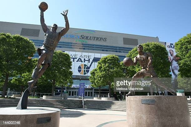 Statues of former Utah Jazz players Karl Malone and John Stockton sit on display before the team faces the San Antonio Spurs in Game Four of the...