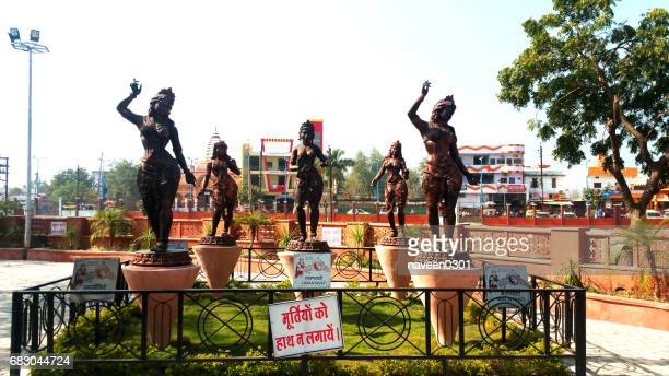 statues of girls at vikram tila in ujjain, india - indore stock photos and pictures