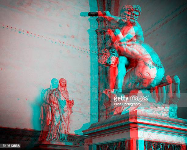 Statues of Loggia dei Lanzi, Florence, in an anaglyph image