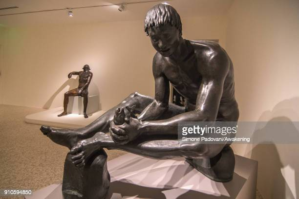 Statues of Marino Marini are seen during the press preview of the exhibition Marino Marini Visual Passions at Peggy Guggenheim Museum on January 26...