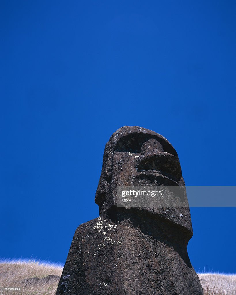 Statues of Moai in Easter Island : Stock Photo